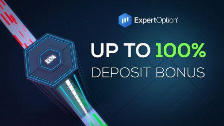 عرض ترحيبي من ExpertOption - مكافأة إيداع بنسبة 100٪ تصل إلى 500 دولار